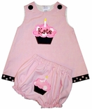 Girl's Birthday Cupcake Dress Outfit Optional Cupcake Bloomers