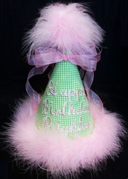 Happy Birthday Hat Monogrammed Personalized For Girls & Boys.