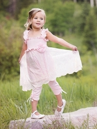 Haute Baby Lacey Rose Girl Top and Capris Set with Lace Overlay