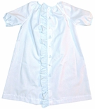 Heirloom Baby Boys Coming Home~Day Gown in White, Blue Ruffles and Sailboats
