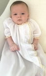 Heirloom Baby Day Gown or Long Christening Gown in Batiste with Ruffle and French Lace, Perfect for Hospital Pictures and Baby Showers