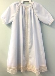 Heirloom Baby Infant Day Gown, Long Gown in Batiste with French Lace