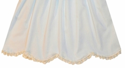 Heirloom Batiste Dress with Vertical Woven Satin Ribbon Down the Bodice, Satin Ribbon Bows and Scalloped Hem