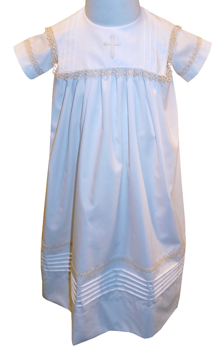 Heirloom Boy Christening Baptsim Gown in White with a Square Collar ...