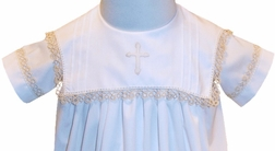 Heirloom Boy Christening Baptsim Gown in White with a Square Collar, Ecru Tatting Lace Trim, Shadow Embroidered Cross and Pintucks