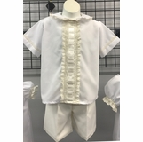 7c3ff752029e7 Heirloom Boy's Button On or Blouse over Shorts with Vertical Beading, Woven  Ribbon and French