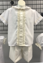 Heirloom Boy's Button On or Blouse over Shorts with Vertical Beading, Woven Ribbon and French Lace