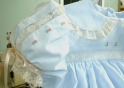 Heirloom Dress Anna with French lace Bodice, Sleeves and Hem with Hand Embroidered Floral Buds