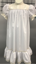 Heirloom Dress in Batiste Fabric, White or Ecru French Lace, and Vertical Rows of Large Satin Ribbon on Bodice