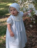 Heirloom Blue Portrait Dress, Holiday Dress or Special Occasion Ribbon and Lace Collar Dress