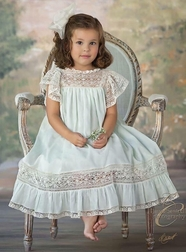 Heirloom Dress Tessa with French Lace Flutter Sleeves, Bodice and Ruffle