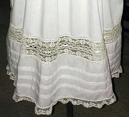 "Heirloom Dress with Square Collar, Horizontal Ribbon and French Lace with Skirt French Lace and Ribbon ""Gabriela"""