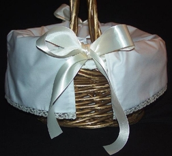 Heirloom Flower Girl Basket Covers with French Lace and Satin Ribbon