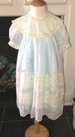 Heirloom Girl's Dress in Nelona Blue Fabric and French Lace Removable Collar