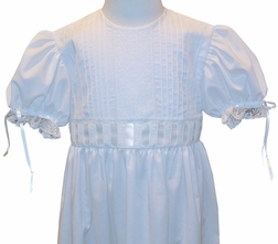 Heirloom Girl's Dress with Lace Trimmed Bodice, Beading and Satin Ribbon with Tie Back Ribbon Sash