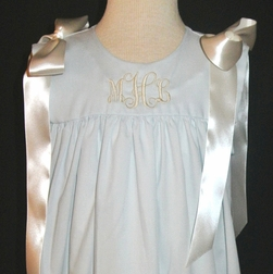 Girl's Heirloom Monogrammable Sleeveless Dress with Shoulder Ribbon