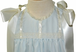 Heirloom Girl's Dress with Shoulder Satin Ribbons, French Lace and Satin Ribbon Bodice