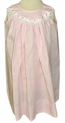 Heirloom Girl's Pink Linen Dress with Satin Ribbon and Eyelet Lace