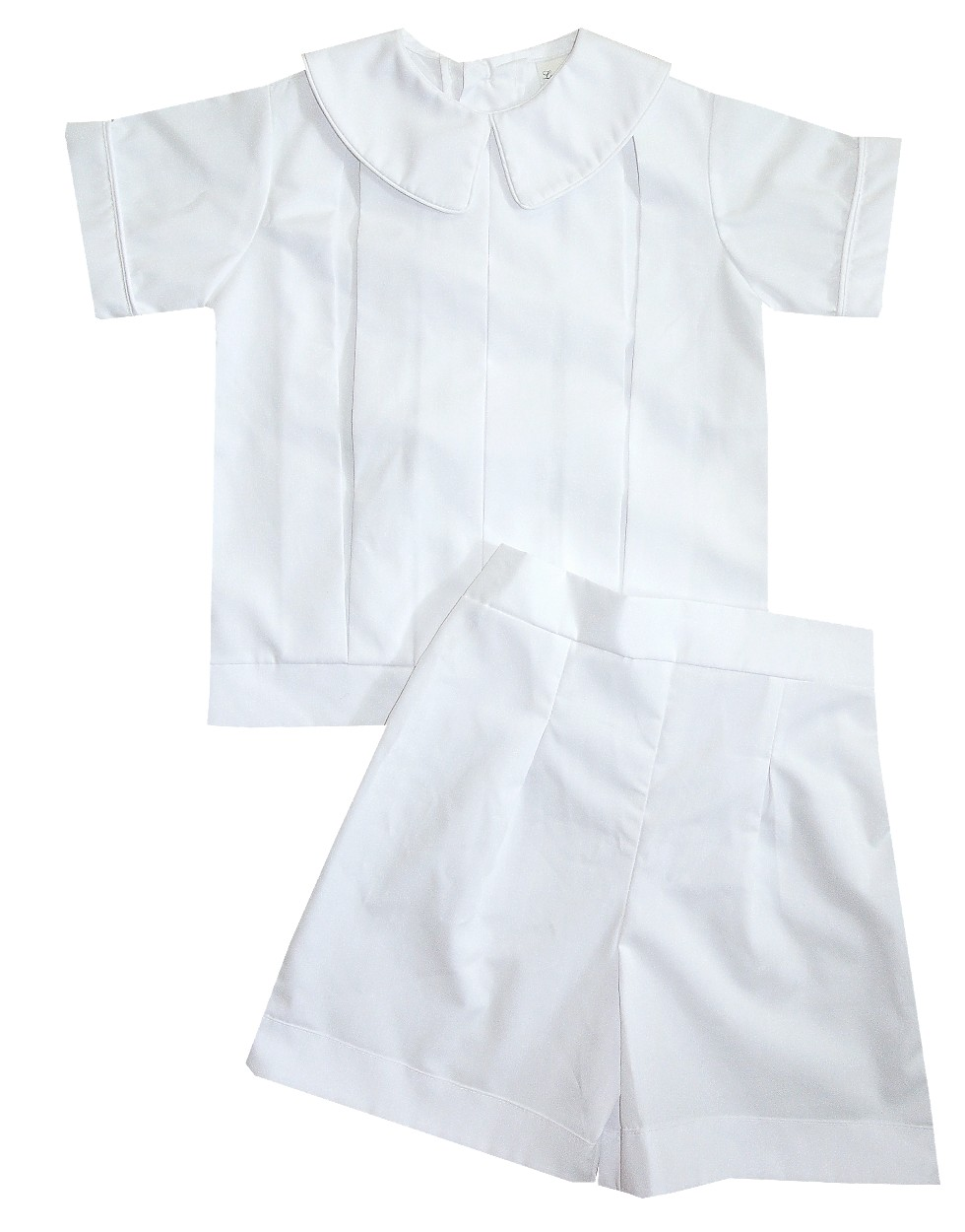 Heirloom Boys Pleated Peter Pan Collar Blouse Over Shorts