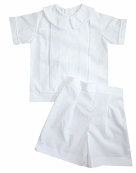 Heirloom Boy's Pleated Peter Pan Collar Blouse over Shorts