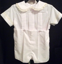 Boy's Heirloom Button On, Knickers or Shorts Set with Lace Trimmed Peter Pan Collar and Sleeves