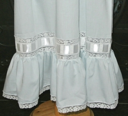 Heirloom Special Occasion Dress with Waist Horizontal Ribbon and French Lace and Ruffle