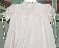 Heirloom Dress Baby Girl Day Gown or Long Gown for Christening, Baptisms or Portraits with Vertical French Lace and Optional Matching Bonnet