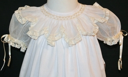 Girl's Heirloom White Organdy Smocked Collar with Pearls Dress