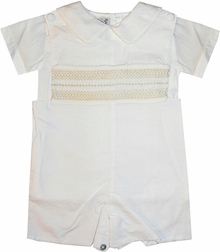 Heirloom Smocked Bradley and Blouse in White with Ecru by Highland Porch