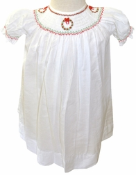 Smocked Christmas Heirloom Dress with Wreaths by Highland Porch