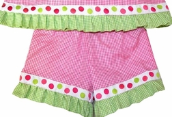 Custom Made Girl's Hot Pink Outfit With Lime And Pink Dots Ribbon.