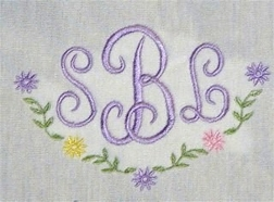 Initials with Daisies<br>     (Initials only)