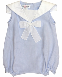 Sunsuit Bubble for Baby Girls in Nautical Blue by Jack & Teddy