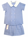 Jack & Teddy Boy's Double Breasted Blue Blouse over Shorts Perfect for Easter