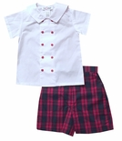Jack & Teddy Boy's White Double Breasted Blouse and Christmas Plaid Shorts