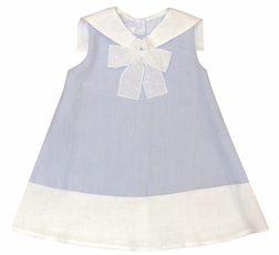 Jack & Teddy Girl's Blue Linen Nautical Sailor Dress