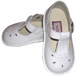 Girl's White Mary Jane Shoes with Sunburst Toe by L'Amour