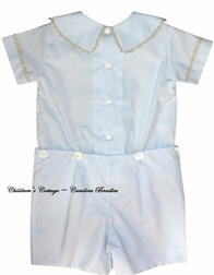 Boy's Heirloom Button On in Blue with Peter Pan Collar and Vertical Ruching