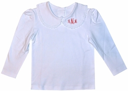 Beehave Monogrammable White Long Sleeve Shirt with Crochet Trim