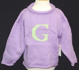 Monogrammed Personalized Sweater In Lavender And Mint