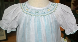 Le' Za Me Bishop Smocked Dress in Voile Overlay and Aqua