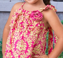Le' Za Me Damask Dress in Hot Pink and Lime Green and Ruffles