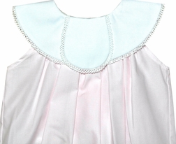 Le Za Me Girl's Pink Round Collar Heirloom Hand Me Down Monogrammed Bubble