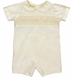 Le' Za Me Heirloom Boy's Smocked Ivory/Ecru Silk Button On