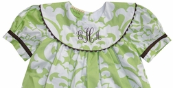 Le' Za Me Kiwi Damask and Chocolate Monogrammable Portrait Collar Dress