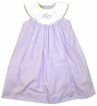Le' Za Me Lavender Monogrammable Hand Me Down Tab and Round Collar Dress