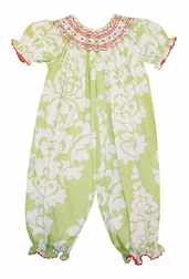 Le' Za Me Smocked Kiwi Damask Long Bubble with Red
