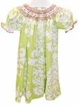 Le' Za Me Smocked Green Damask Dress with Red Trim