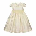 Le' Za Me Smocked Waist Heirloom Ivory Silk Dress
