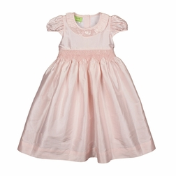 Le' Za Me Smocked Waist Pink Silk Dress with Tie Back Sash